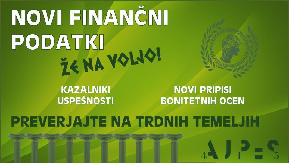 Novi finančni podatki in bonitetne ocene AJPES že na voljo